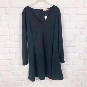 Loft Black Long Sleeve Fit & Flare Dress 14